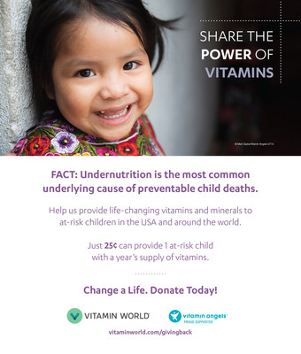 Throughout the months of August and September, Vitamin World, in nearly 400 of their stores across the U.S., will ask customers to donate at the register, with each donation going to support Vitamin Angels and its work to end undernutrition globally. The campaign will run August 1- September 30.