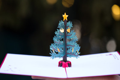 Lovepop's 3D pop-up Christmas tree card. Photo credit: Surabhi Agrawal