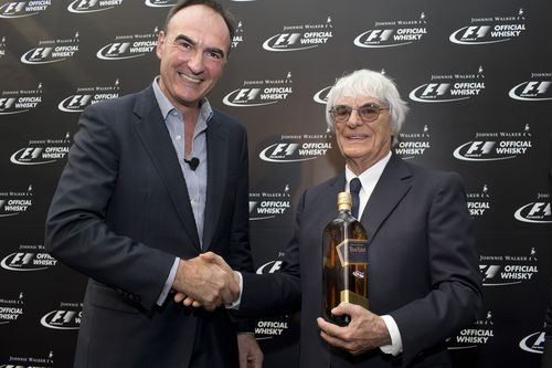 Pictured at the announcement of Johnnie WalkerÂ(R) as the Official Whisky of FORMULA 1 were Dr Nick Blazquez, President, Diageo Africa and Asia, and Bernie Ecclestone, Chief Executive Officer of the Formula One group. (PRNewsFoto/JOHNNIE WALKER)