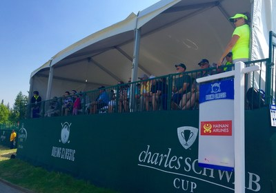 Hainan Fortune Wings members enjoy a beautiful view of the tournament players from the VIP skybox