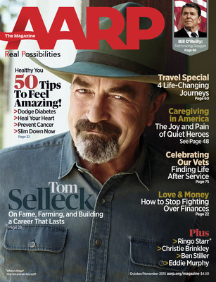 Tom Selleck on the cover of October's AARP The Magazine.