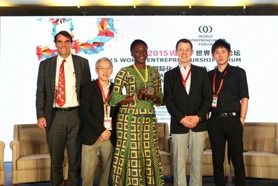 World Entrepreneurship Forum's 2015 Awardees From left to right :Timothy Draper (USA), Prof. Wong Poh Kam (Singapore), Bernice Dapaah (Ghana), Francesco Piazzesi Tommasi (Mexico), Mao Jingxiang (China) (PRNewsFoto/World Entrepreneurship Forum)