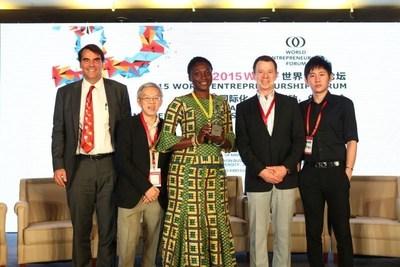 World Entrepreneurship Forum's 2015 Awardees From left to right :Timothy Draper (USA), Prof. Wong Poh Kam (Singapore), Bernice Dapaah (Ghana), Francesco Piazzesi Tommasi (Mexico), Mao Jingxiang (China) (PRNewsFoto/World Entrepreneurship Forum)
