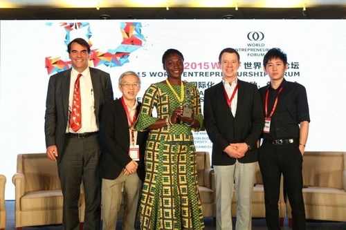 World Entrepreneurship Forum's 2015 Awardees From left to right :Timothy Draper (USA), Prof. Wong Poh Kam (Singapore), Bernice Dapaah (Ghana), Francesco Piazzesi Tommasi (Mexico), Mao Jingxiang (China) (PRNewsFoto/World Entrepreneurship Forum) (PRNewsFoto/World Entrepreneurship Forum)