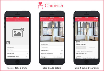 New Chairish Mobile App Features. (PRNewsFoto/Chairish) (PRNewsFoto/CHAIRISH)
