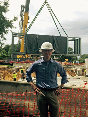 Dr. Jeffrey Brabham of Florida Oncology Tavares stands in front of the construction site at Nightingale Lane, Tavares where the new high energy radiation vault is being placed at the new cancer center.