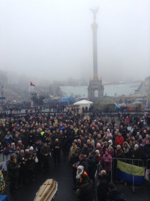 TARAS P. NYKORIAK (SKYPE SHERIFFTARAS), A US CITIZEN, AT FUNERAL IN INDEPENDENCE SQUARE IN KYIV, UKRAINE