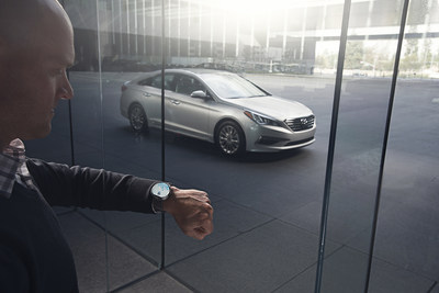"""The Blue Link smartwatch app allows Hyundai owners to remote start, lock and unlock doors as well as find their car in a crowded parking lot. Pushing the microphone icon on the watch activates the voice function, where the driver can execute commands such as """"Start my car,"""" """"Lock my car"""" or """"Find my car."""""""