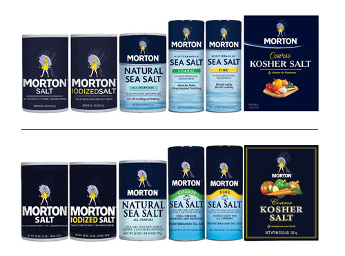 Morton Salt is rolling out a new package design system (top) for its consumer products in 2014. The new design ...