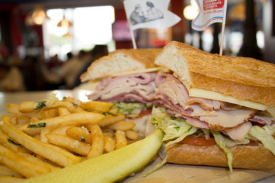 The Farrell's GastronomicalDelicatessenEpicurean's Delight Sandwich is a mouthful to say and to eat. Comes in the small version shown here or a 4 foot long party style sandwich. (PRNewsFoto/Farrell's Ice Cream Parlour ...)