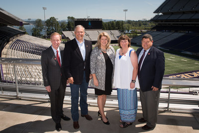 L-R: Microsoft President and Games Honorary Board Chair Brad Smith, Washington State Gov. Jay Inslee, 2018 Special Olympics USA Games CEO Beth Knox, Special Olympics athlete Stacey Johnston, Special Olympics NorthAmerica President Marc Edenzon.