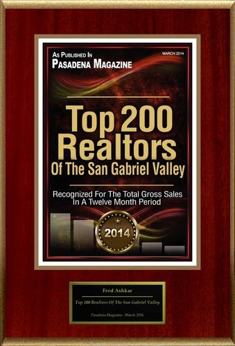 "Fred Ashkar Selected For ""Top 200 Realtors Of The San Gabriel Valley"". (PRNewsFoto/American Registry)"