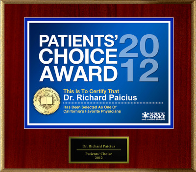 Dr. Paicius of Newport Beach, CA has been named a Patients' Choice Award Winner for 2012. (PRNewsFoto/American Registry) (PRNewsFoto/AMERICAN REGISTRY)