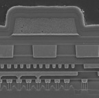Freescale Kinetis ARM Cortex-M4 microcontroller wins Insight Award for Most Innovative Process Technology.  Image is an SEM cross-section at edge of Flash array.  (PRNewsFoto/UBM TechInsights)