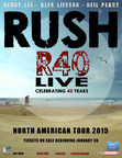 RUSH ANNOUNCES R40 LIVE TOUR - 40TH ANNIVERSARY TOUR
