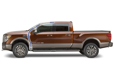 The all-new 2016 Nissan Titan features a roof rail, a-pillar and hinge jamb reinforcement produced by Vari-Form around a one-piece hydroformed tube.