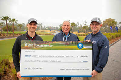 World Golf Hall of Famer and Liberty Mutual Invitational Honorary Chairman Curtis Strange (center) displays a check for $7.2 million raised for more than 60 charities throughout the 2014 Liberty Mutual Insurance Invitational, which was comprised of more than 75 local charity golf tournaments.  Also pictured are Joe LeClair (left) and John Coombe from Liberty Mutual Insurance, which has leveraged its Invitational to raise more than $28 million for charity since 2010.  The slate of more than 80 charitable events that will comprise the 2015 Liberty Mutual Invitational will tee off on May 4.