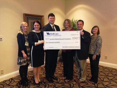WellCare of Florida executives present a check to the Tampa Bay Chapter of the Juvenile Diabetes Research Foundation (JDRF). From left to right, Tanya McNally, WellCare's senior human resources director, Elizabeth Miller, WellCare of Florida's chief operating officer, Mike Freeman, WellCare of Florida's director of Medicaid marketing, Carole Brennan, JDRF Tampa Bay development coordinator, Stephen B. Stagg, chairman of the JDRF One Walk Tampa and Carolyn Boos,  executive director of JDRF Tampa Bay.