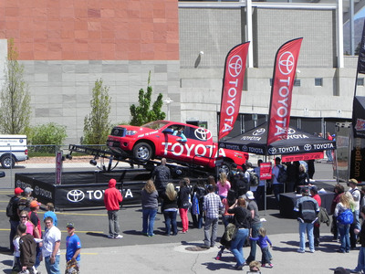 Truck enthusiasts can get behind the wheel of the Toyota Tundra Teeter Totter, which will be located on Chick Hearn Way from Dec. 7-9.  (PRNewsFoto/Toyota Motor Sales (TMS), U.S.A., Inc.)