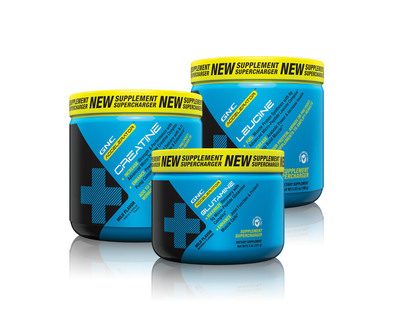Introducing the GNC Accelerator Series(TM): new products to customize your supplementation to help achieve your personal fitness goals with GNC Accelerator(TM) Leucine; GNC Accelerator(TM) Glutamine; GNC Accelerator(TM) Creatine.  (PRNewsFoto/GNC Holdings, Inc.)