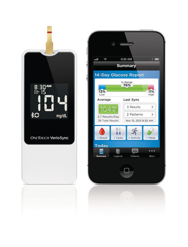 The new OneTouch(R) Verio(R)Sync Blood Glucose Meter automatically sends results wirelessly to an iPhone(R), ...