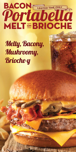 Wendy's is bringing back its Bacon Portabella Melt for a limited time and serving it on a toasted brioche bun. Starting with 1/4 lb. fresh North American beef patty, each Wendy's Bacon Portabella Melt on Brioche is loaded with irresistible flavor, including sauteed portabella mushrooms in creamy cheddar cheese sauce, thick-cut Applewood Smoked Bacon and two slices of American cheese all embraced by a soft, buttery, French-style brioche bun.  (PRNewsFoto/The Wendy's Company)