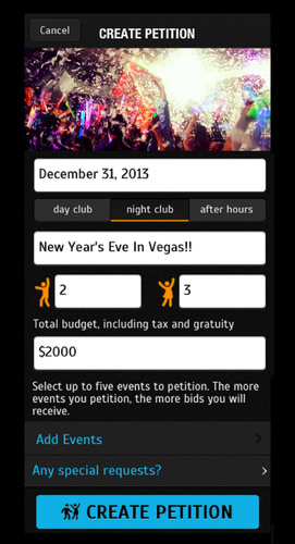 PartyPetition, a new app for securing nightclub reservations in Las Vegas, launches on Apple's app store in time for New Year's Eve. (PRNewsFoto/PartyPetition) (PRNewsFoto/PARTYPETITION)
