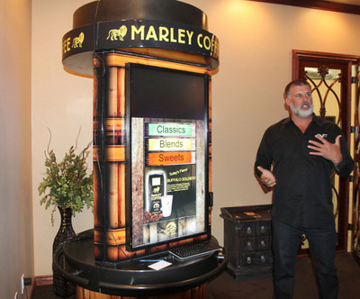 AVT's (AVTC) Marley Coffee Kiosk, with Shannon Illingworth, Company Founder and Chairman.  (PRNewsFoto/AVT, Inc.)