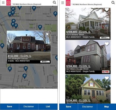 Map-Centric search and scrollable list view of MLS listings highlight newfeatures in the mobile website redesign of illinoisproperty.com