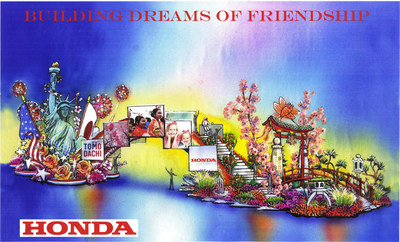 Honda's 2015 Rose Parade float, Building Dreams of Friendship, will lead the 126th Rose Parade. The float celebrates the friendship shared by the United States and Japan through the TOMODACHI Initiative. As part of this initiative, Honda will reunite Japan earthquake survivors with U.S. military first responders.