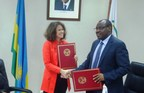 Rwanda's Finance Minister, Claver Gatete (R) and World Bank Country Manager Carolyn Turk (L) after signing the agreement in Kigali, Rwanda. (PRNewsFoto/KT Press)