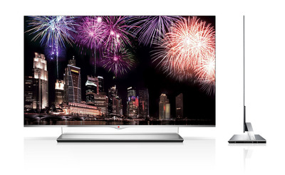 LG Electronics' revolutionary 55-inch class OLED TV will be available in the United States in March at a suggested price of $11,999.  Only 0.16 inches thin and weighing less than 22 pounds, LG OLED TVs produce astoundingly vivid and realistic pictures thanks to its superior WRGB technology.  As the first company to announce availability of the next-generation TV technology, also launching next month in South Korea, LG is prepared to ramp up quickly to take the lead in the OLED segment that is expected to grow to 7.2 million units by 2016, according to DisplaySearch.  (PRNewsFoto/LG Electronics USA)