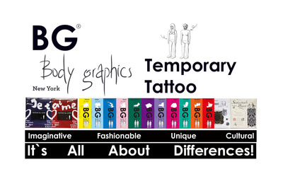 "Since its birth in the fashion capital of New York, Body Graphics has quickly swept over many countries with its diversified creative ideas and exquisite design, becoming the favorite of the fashionable people and brand-new personal symbols. BG temporary tattoo are jointly created by many outstanding designers from all walks of life. Such as contemporary decoration painter, jewelry designer and tattoo artist etc. Adhering to the concept of ""It's all about differences"", each design is shining with wisdom and defines the glow of fashion, enabling young lives to dialogue with their soul and to create personal dream benchmark.  (PRNewsFoto/Bodygraphics Cosmetic Trading LLC)"