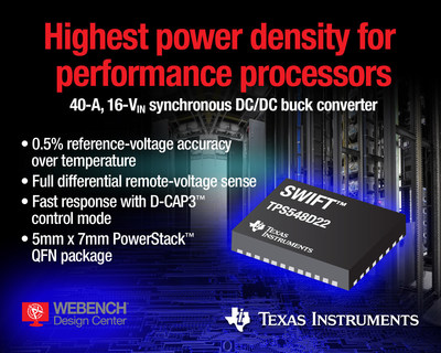 The DPS548D22 from Texas Instruments is the industry's first 40-A, 16-VIN synchronous step-down DC/DC converter with true differential remote-voltage sensing. The SWIFT buck converter features a small PowerStack(TM) package and integrated MOSFETs to drive application-specific integrated circuits (ASICs) and digital signal processors (DSPs) in space-constrained applications.