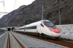 EuroCity at the South Portal of the Gotthard Base Tunnel (PRNewsFoto/Swiss Travel System AG)