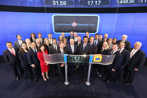 Jay Sidhu, Chairman & CEO of Customers Bancorp, Inc., rings the Opening Bell to celebrate the company's listing on NASDAQ Thursday morning, May 30.  (PRNewsFoto/Customers Bancorp, Inc.)