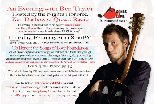 An Evening with Ben Taylor.  (PRNewsFoto/Songs of Love Foundation)