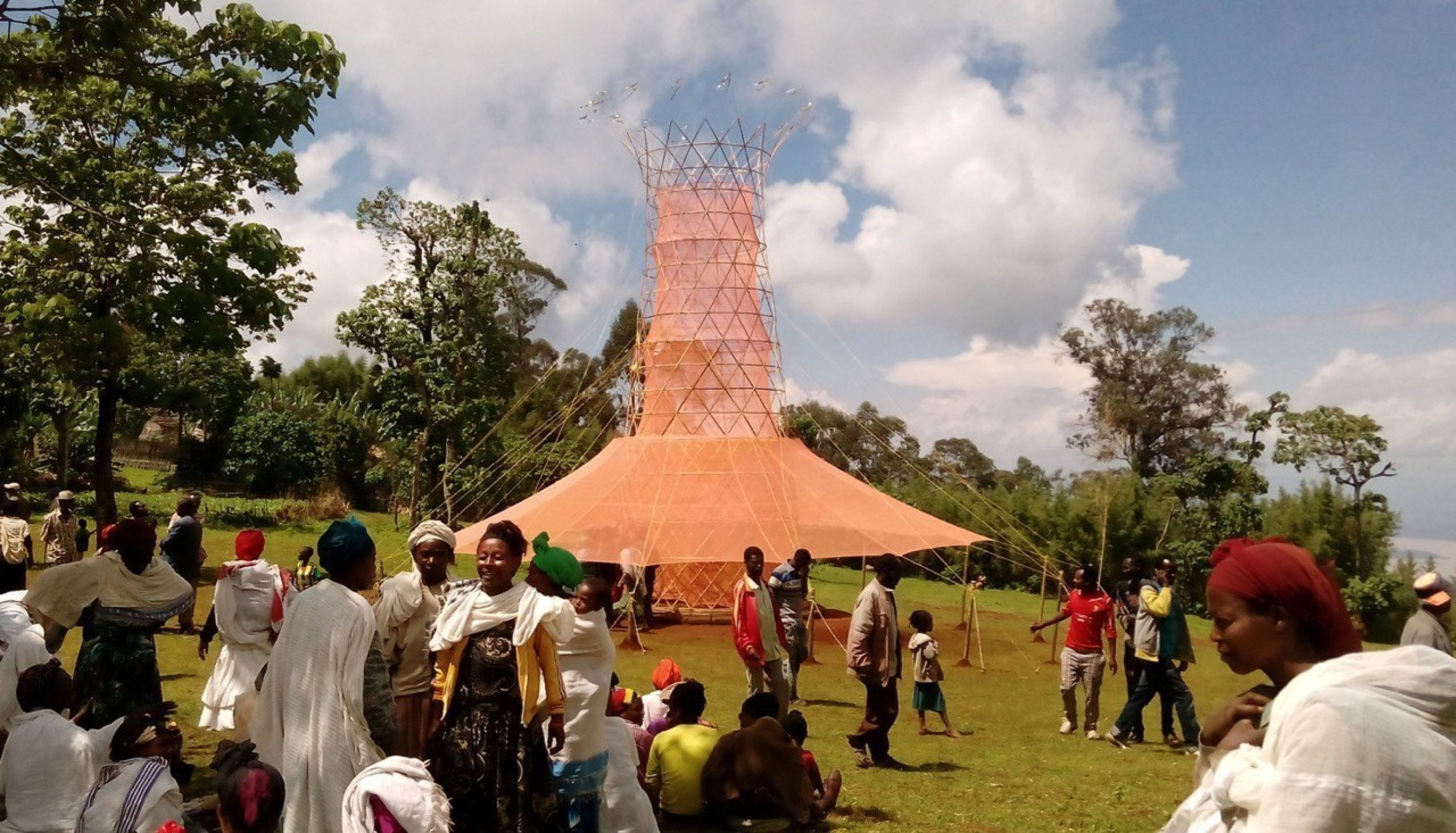 Onsite view of Warka Water (Ethiopia). Warka Water took home the WDIP 20152016 trophy at the WDC Taipei 2016 International Design Gala. Image courtesy WDC Taipei 2016.