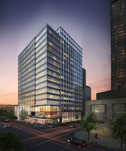 Developer Schnitzer West plans 16-story office building at 415 106th Ave. NE in Bellevue (rendering courtesy of  ...