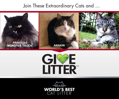 World's Best Cat Litter(TM) has partnered with three extraordinary cats to help them do extraordinary things for shelter cats during the latest round of the GiveLitter(TM) charity, which allows online cat lovers to donate 30,000 pounds of litter to shelter cats in need. Famous cats Spangles, Princess Monster Truck and Anakin, rescue cats who all overcame their own unique challenges to capture the hearts of thousands online, have now teamed up to help raise litter donations for their favorite shelters. GiveLitter(TM) launches today, and has unlimited voting will run until Friday, July 25. Visit www.worldsbestcatlitter.com/givelitter to cast your vote. (PRNewsFoto/World's Best Cat Litter)