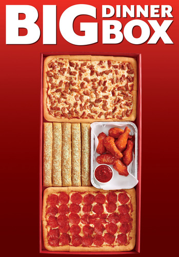 The new Pizza Hut Big Dinner Box is filled with two medium rectangular one-topping pizzas, eight wings and five breadsticks for only $19.99. It arrives as Pizza Hut restaurants nationwide are prepping for Red Roof Wednesday - the day before Thanksgiving - when households are packed with hungry college students and out-of-town relatives in search of a quick meal without dirtying the dishes before turkey day. This year on Red Roof Wednesday, Pizza Hut expects to sell 1 million pizzas.    (PRNewsFoto/Pizza Hut)