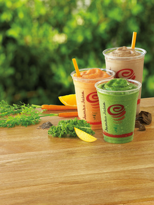 Jamba Juice today introduced its new Whole Food Nutrition(TM) smoothies and revealed plans for the expansion of its squeezed-to-order, fresh juice offerings, solidifying its commitment to inspire and simplify healthy living. Whole Food Nutrition smoothies are made with whole food ingredients including kale, carrots, chia seeds, and Greek yogurt. With 10-14 grams of protein, these smoothies provide balanced nutrition and serve as a convenient breakfast, lunch, or snack on-the-go and are available in three delicious and satisfying flavors: Kale-ribbean Breeze(TM), PB Chocolate Love(TM) and Carrot Orange Fusion(TM). For more information, visit JambaJuice.com. (PRNewsFoto/Jamba Juice Company) (PRNewsFoto/JAMBA JUICE COMPANY)