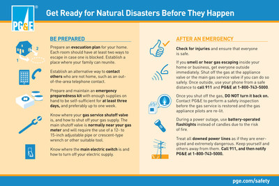 PG&E offers these preparedness tips for emergencies. (PRNewsFoto/Pacific Gas and Electric Company)