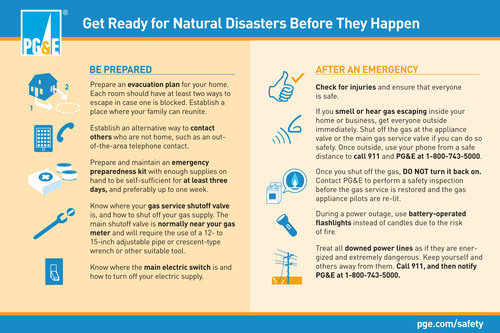 Recent Earthquake in Napa County Reminder to PG&E Customers to