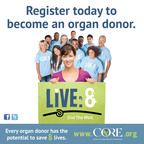LiVE:8 and end the wait. Register today to become an organ donor. (PRNewsFoto/The Center for Organ Recovery...)
