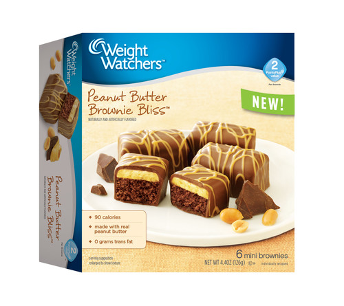 Peanut Butter Brownie Bliss(TM) An indulgent brownie layered with creamy, real peanut butter and a chocolaty coating. Each individually-wrapped brownie is 90 calories and has a PointsPlus(R) value of 2.(PRNewsFoto/Weight Watchers Sweet Baked Goods)