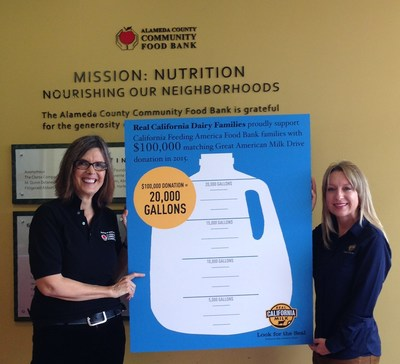Alameda County Community Food Bank accepts California Dairy Farm Families' $100,000 matching Great American Milk Drive donation on behalf of California's Feeding America Food Banks
