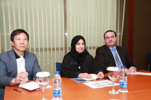 ESPC 2015 organising committee members during their meeting, from left : Dr. Aaron Han, Dr. Mouza Al Sharhan, Dr. Hassan Hotait of the Emirates Pathology Society (PRNewsFoto/Emirates Pathology Society (EPS))