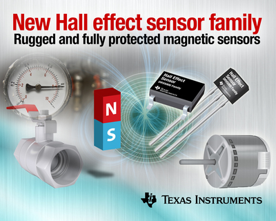 The rugged and fully protected DRV5000 sensor products include digital latch, digital switch and analog bipolar output options for such diverse applications as brushless DC (BLDC) motor control, home security, industrial valve and damper position sensors, speed and position control loops, and flow meters.