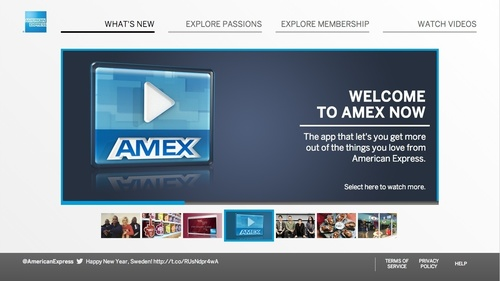 """American Express and its interactive TV app called """"Amex NOW"""" are included in the initial trial deployment by Cablevision of the ActiveVideo CloudTV(TM) AdCast software platform that brings interactive TV ads to any pay-TV set-top box. (PRNewsFoto/ActiveVideo)"""